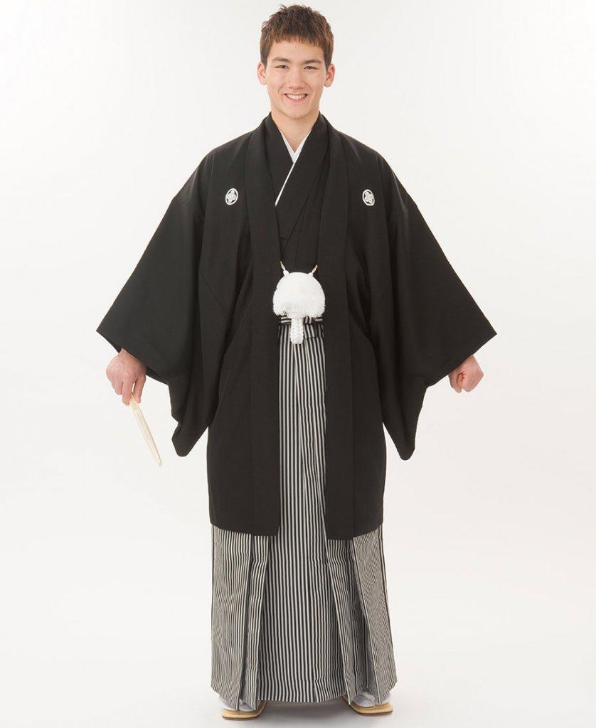 新郎 紋付き袴-黒羽二重仙台平袴-Img0042