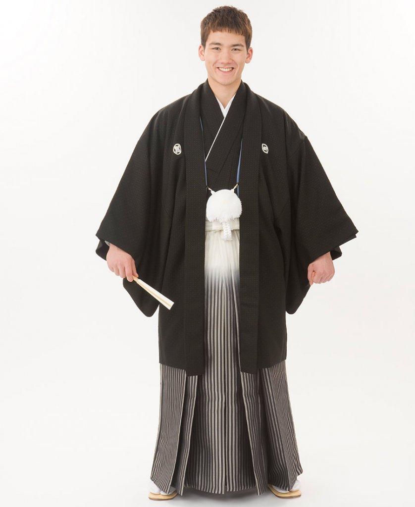 新郎 紋付き袴-黒菱ぼかし袴-Img0075