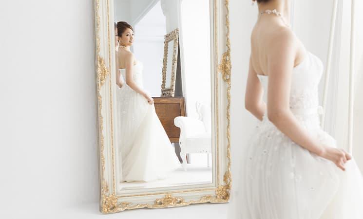 ウェディングドレス自宅試着 姿見鏡の準備